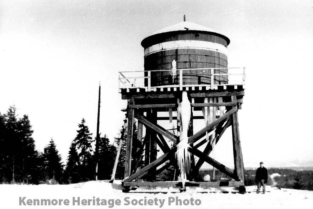 Wooden water tank holding 20,000 gallons is built on the Northlake hill
