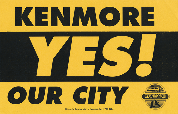 After repeated defeats, a proposal to incorporate the City of Kenmore is approved by voters.